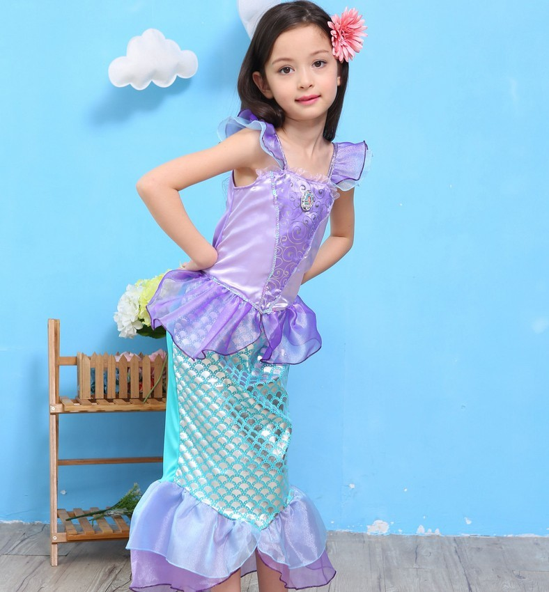 halloween costumes for kids girls children Princess baby anime cosplay fancy dress Clothes Dresses The Little Mermaid Ariel tail