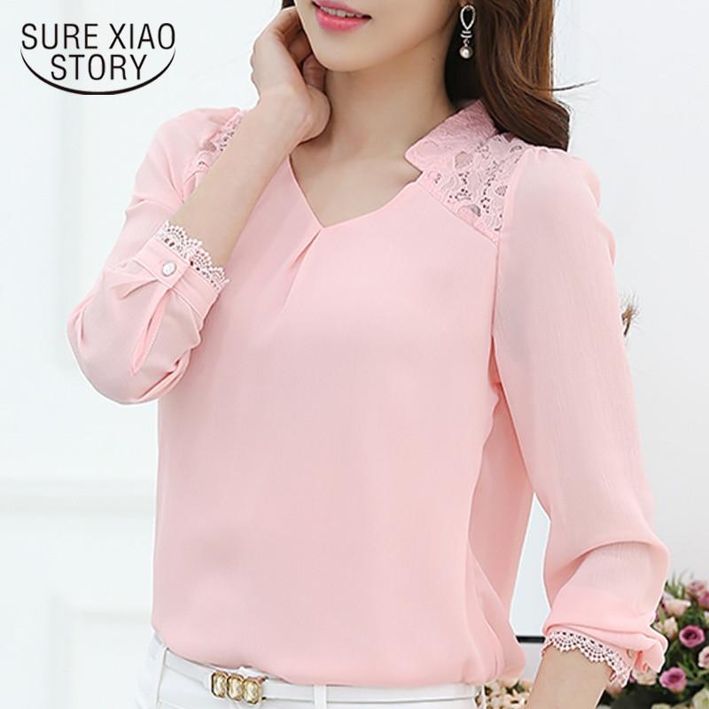 New 2018 Autumn Women's Profession Long-sleeved Solid Chiffon   Blouse     Shirts   Women Plus Size Fashion Casual Women Clothing 860