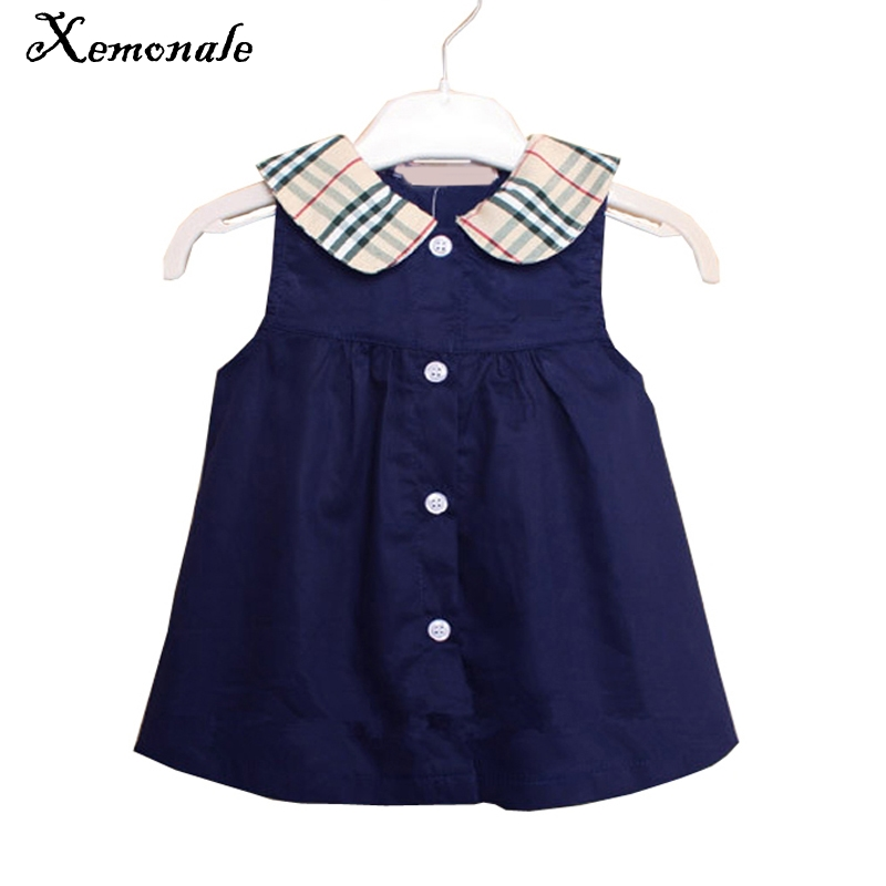 Xemonal Summer Gilrs Dress 2018 New England Style Plaid Vest Dress For Girls Clothes Baby Girls Sleeveless Princess Dress 0-2Yrs