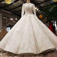 LS11078 2018 Luxury Wedding Dress Full Sleeve O Neck Ball Gown Lace Up Handwork Elegant Bridal