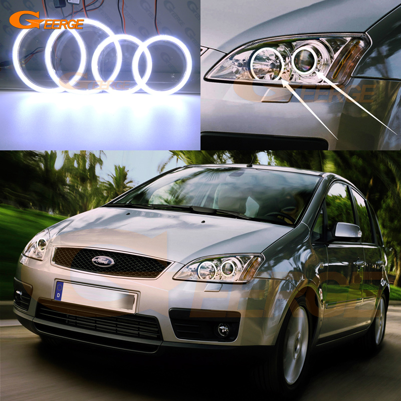 For Ford Focus C-Max 2003 2004 2005 2006 2007 Xenon headlight Excellent Ultra bright illumination COB led angel eyes kit free shipping 2003 2005 nissans 350 z auto headlight led headlamp with angel eyes best quality h7 or d2h xenon lamp