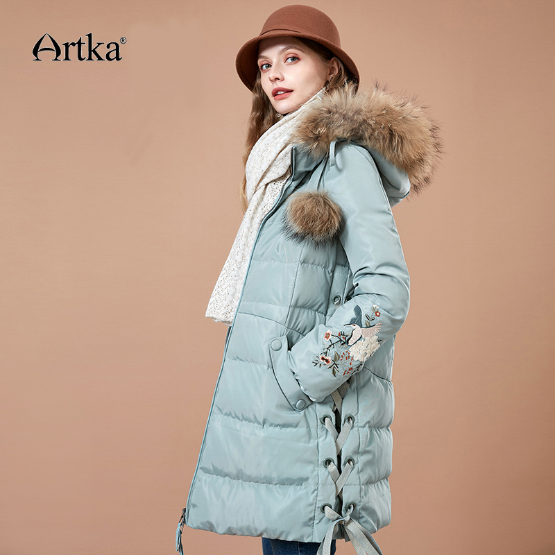 ARTKA 2018 Winter New   Down   Jacket Women's Long 90% White Duck   Down   Large Fur Collar Long White Thick Hooded   Down     Coat   ZK10782D