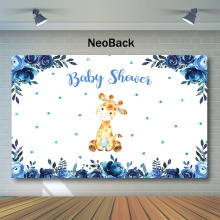 NeoBack Baby Shower Backdrop Cute Animal Background for Photo Blue Watercolor Flower