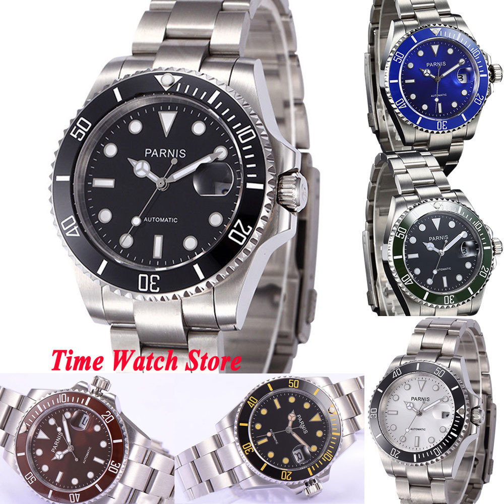 Solid 40mm Parnis SUB men s watch luminous Sapphire glass ceramic bezel Mingzhu Automatic movement wrist