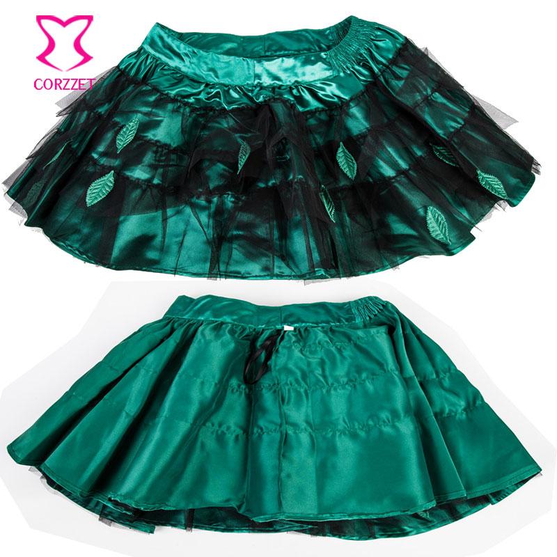 f4b6def290a Green Satin Leaf Appliques Christmas Corset Dress Women Plus Size Steampunk  Corset Skirt Sexy Gothic Dress Burlesque Costumes