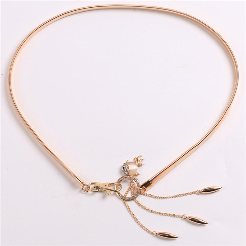 Women\'s Lady Fashion Goldfish Pendant Metal Chain Style Belt Body Chain Waist Belt Women slim Chain Belts For Women 40AG302