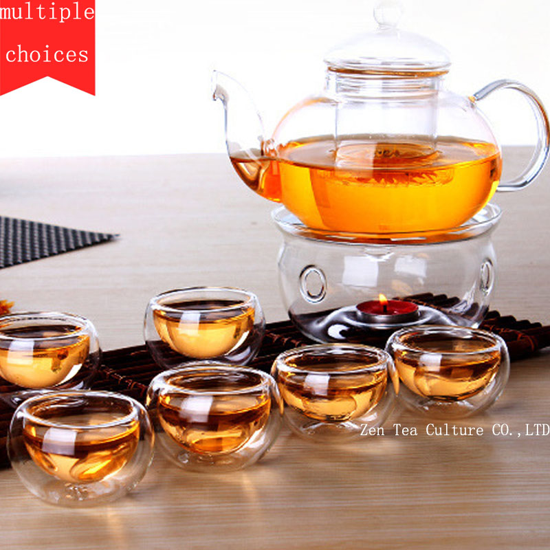 Chinese Drinkware Tea Set Borosilicate Glass Heated Teapot 600ml with Filter Double Single Cup Transparent Office
