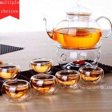 Chinesische Drink Teeservice Borosilikatglas Erhitzt Teekanne 600 ml mit Filter Doppel/Einzige Tasse Transparent Büro Kräutertee Set