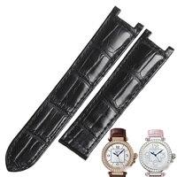 WENTULA watchbands for PASHA DE CARTIER W3109151 W3018651 alligator skin /crocodile grain Genuine Leather watch band