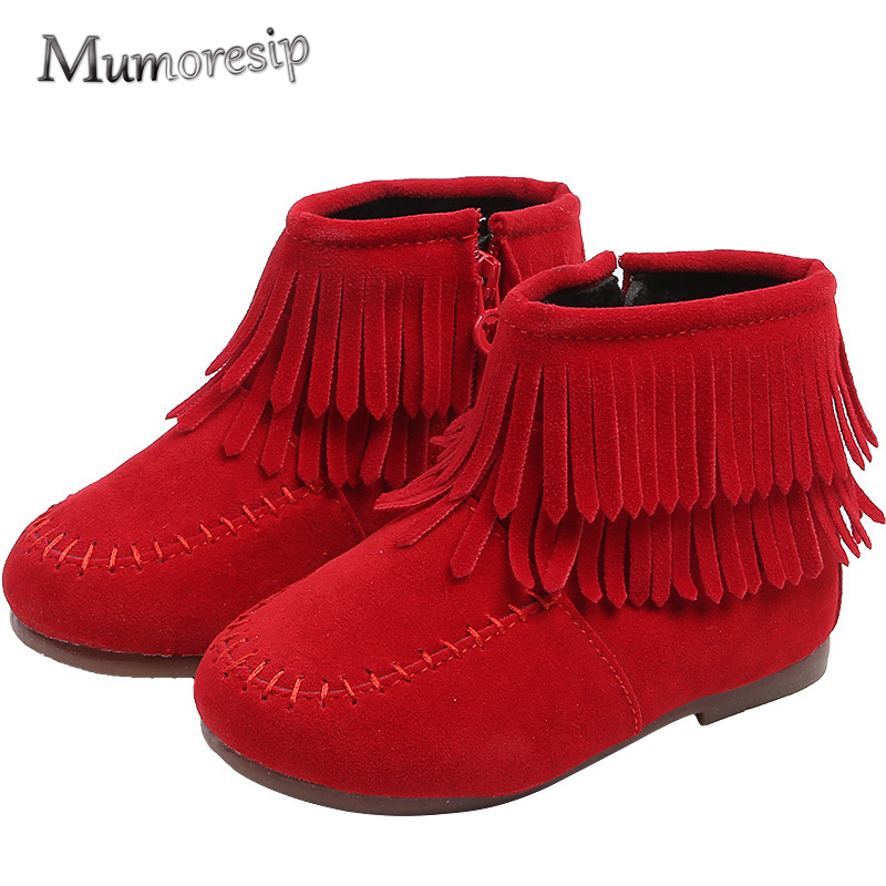 Mumoresip Winter Fashion Toddler Girls Boots With Tassels Kids Boots Fringes Warm Cotton-padded Princess Classical Sweet 21-30