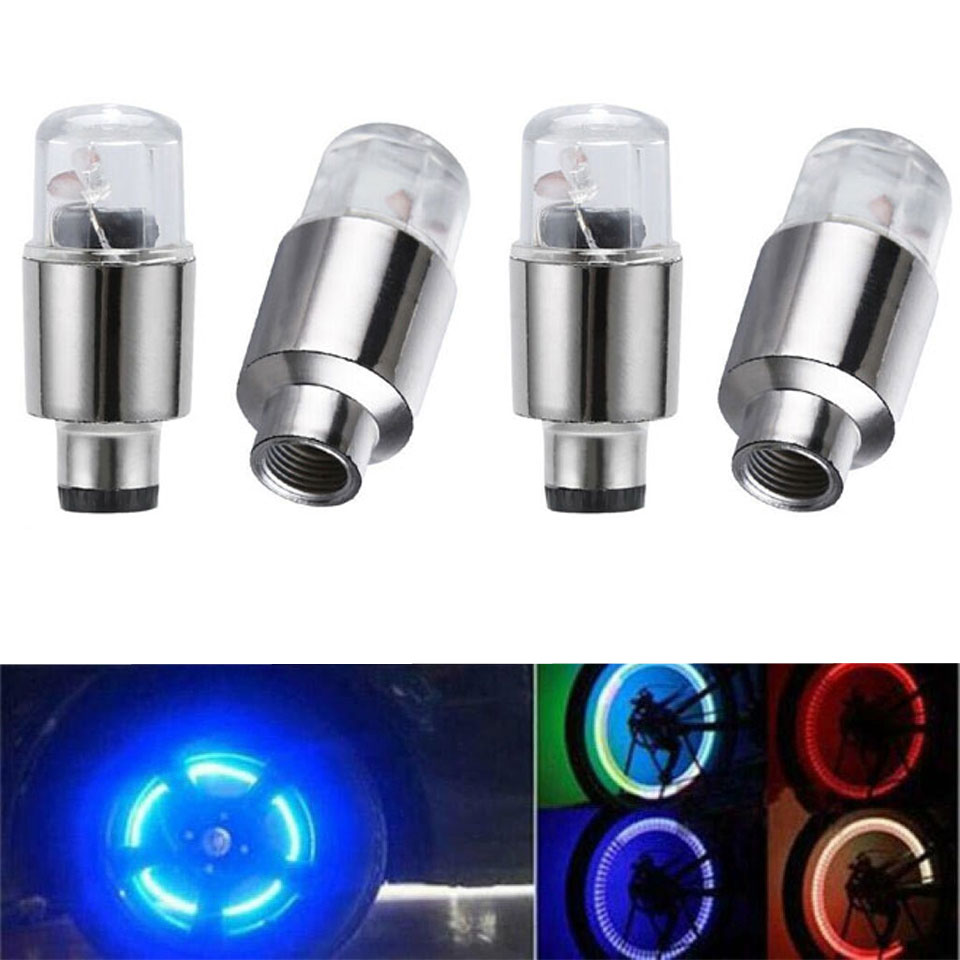 4pcs/Set LED Car Wheel Tyre Tire Air Valve Stem Cap Light Lamp Waterproof Colorful Green/Blue/Red/RGB Cap Spoke Flash Lights
