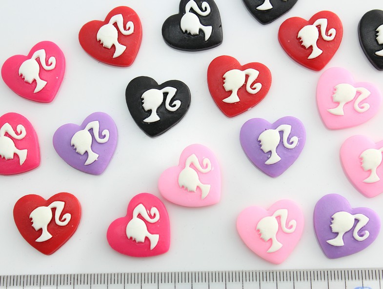 150pcs matte vintage lovely girl silhouette cabochon Cabs -DIY cell phone decor, scrapbook, hair bow and flower center