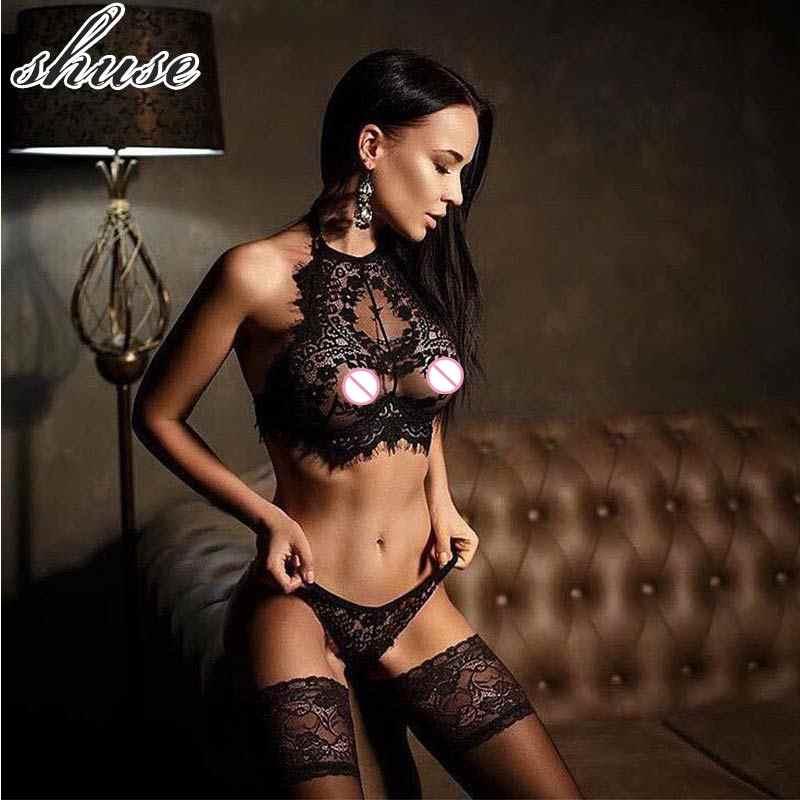 2018 сексуальное кружевное женское белье плюс размер 3XL нижнее белье набор комбинезончиков черные сексуальные горячие Mulheres пикантное эротическое женское бельё порно кукла
