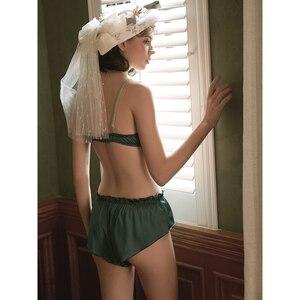 Image 4 - ผู้หญิงซาตินและชุดกางเกงเซ็กซี่ชุดชั้นในหญิง Sweety Ruffles หญิง Brassiere กางเกงหลวมและชุด