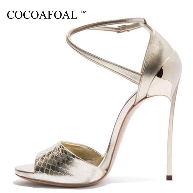 COCOAFOAL Women Open Toe Gold Heels Sandals Plus Size 33 43 Gladiator Bridal Shoes Party Sexy Heel Height Wedding Sandals 2018COCOAFOAL Women Open Toe Gold Heels Sandals Plus Size 33 43 Gladiator Bridal Shoes Party Sexy Heel Height Wedding Sandals 2018