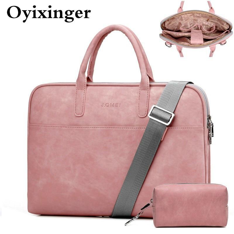 Fashion Women Leather Laptop Bag For Toshiba Samsung Sony 15.6 13.3 14.1 Inch Computer Bag Women's Messenger Bag With Power Bag