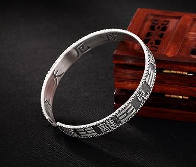 JOOCHEER Sterling S999 999 silver Bangle Eight Diagrams  trendy vintage bracelet JOOCHEER Sterling S999 999 silver Bangle Eight Diagrams  trendy vintage bracelet