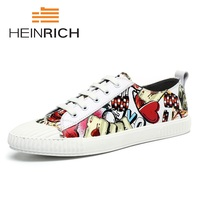 Генрих Элитный бренд Мужская обувь Повседневная кожаная обувь Для мужчин s Демисезонный зашнуровать печати Для мужчин модные кроссовки