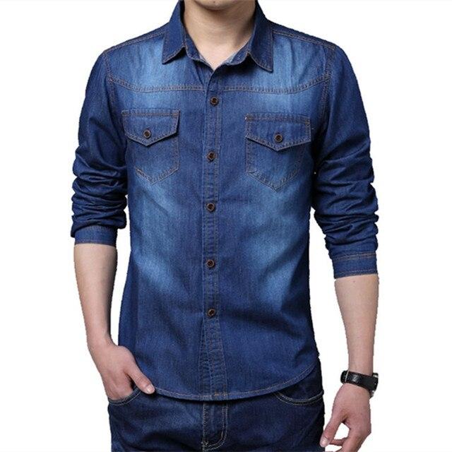 Fit Camisa hombre algodón para de camiseta manga marca Jeans 2015 larga Denim Pocket Slim hombre wBSq7n8f