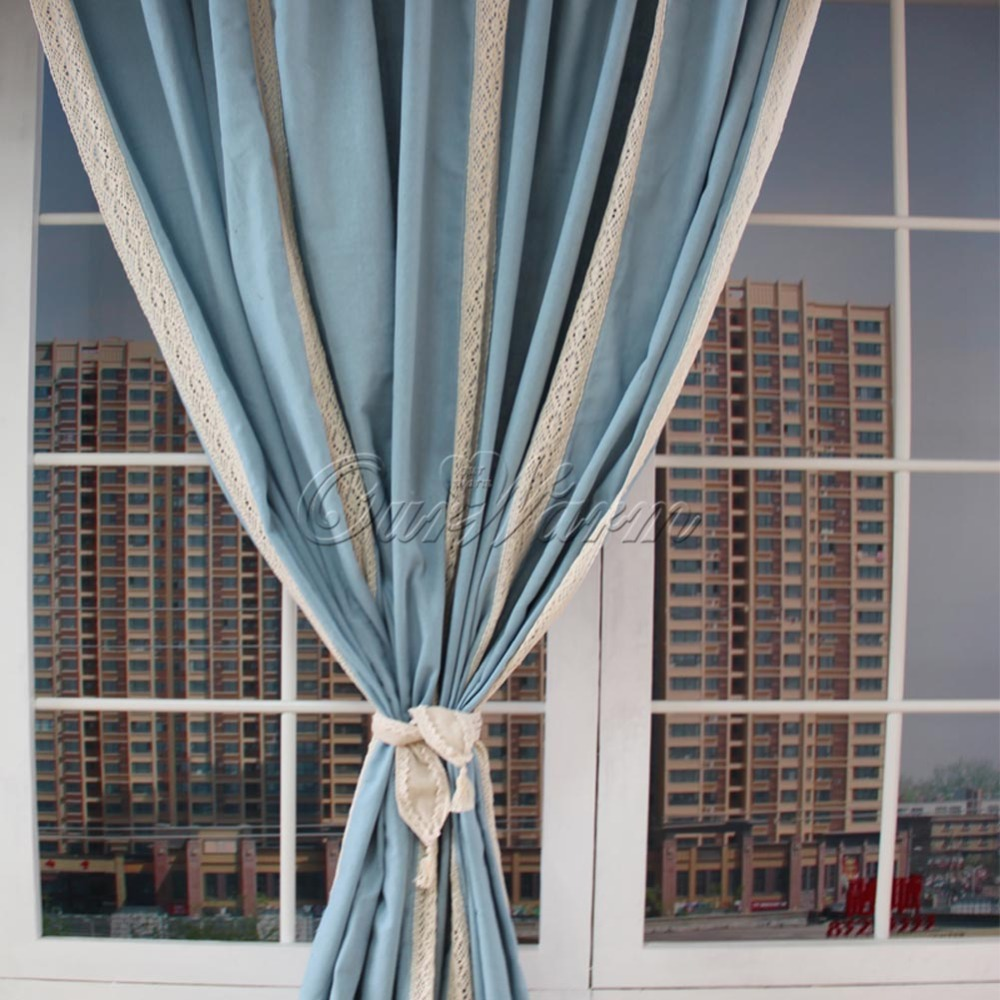 Cotton lace curtains - 2015 Blue Cotton Linen Lace Crochet Curtain Valance Drape Hollow Stitching Panel For Living Room Hotel