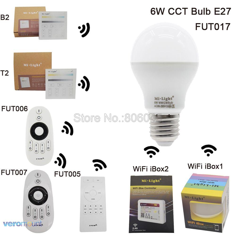 MiLight LED Bulb E27 6W Color Temperature Adjustable Smart CT Dual White Spotlight 2.4G Remote Control Android/iOs APP WiFi milight 5w gu10 dual color temperature led bulb spotlight without remote