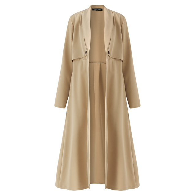 AIEnny 2018 High Trench Coat Women Open Stitch Elegant Long Overcoat Casual Work