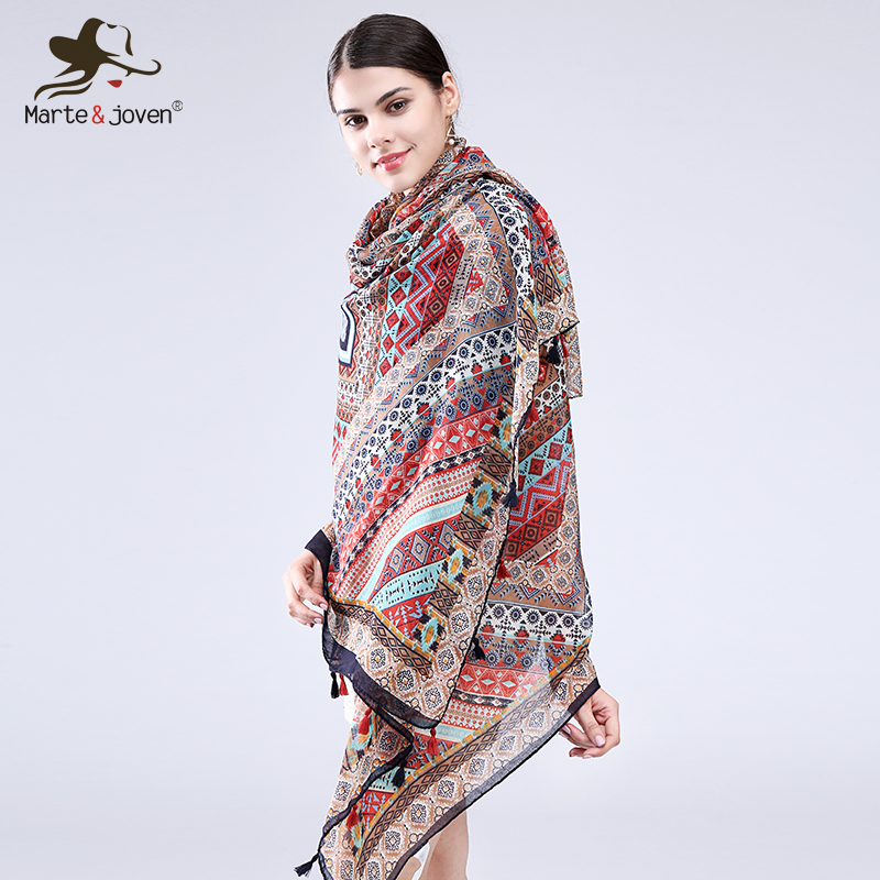 Marte&Joven Geometric Print Ethnic Style Wrap and Scarf for Women Casual Oversized Retro Pashmina Summer Beach Shawl Ladies