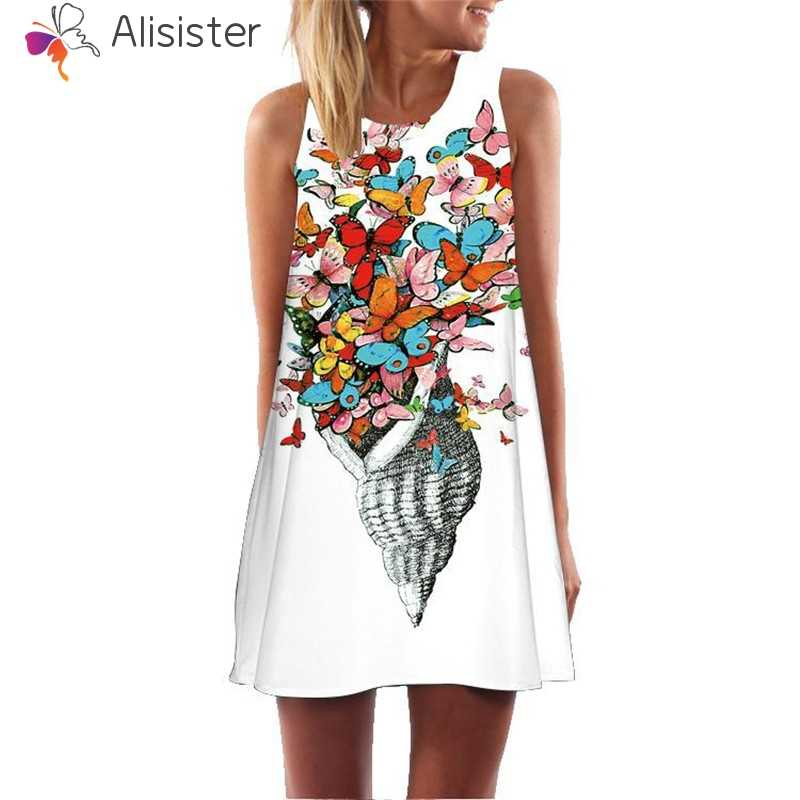 b3eda5f198 2019 Boho Flamingo Floral Letter Print Beach Dress Women Sleeveless A-Line Mini  Tank Dress