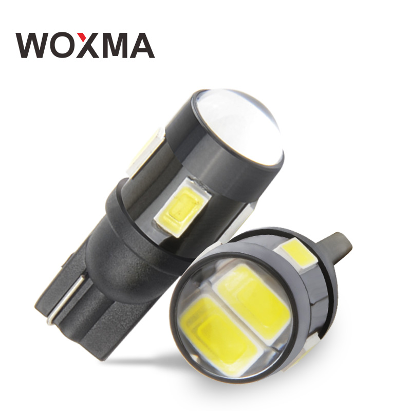 T10 Car 12v W5W Light Bulb Auto T10 led 400LM Car Clearance Lamp 6SMD 5630 Chip cob 6000K White Amber Turn Signal Light WOXMA