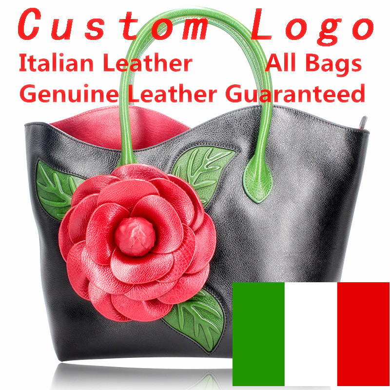 Genuine Italian leather women famous handbags bags 100 real leather Embossed flower Handbags wholesale italian bags in Top Handle Bags from Luggage Bags