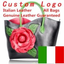 Genuine Italian leather women famous handbags bags 100% real leather Embossed flower Handbags wholesale italian bags все цены