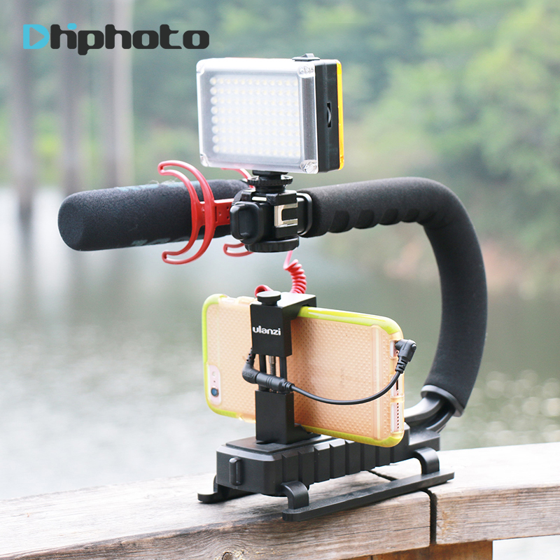 Ulanzi U-Grip Triple Shoe Mount Video Action Stabilizing Handle Grip Rig for iPhone 8 X Gopro Smartphone Canon Sony DSLR Camera