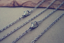 цена на 50pcs/lot  2mm 19inch antique silver necklace pendant chain with lobster clasp Link chain