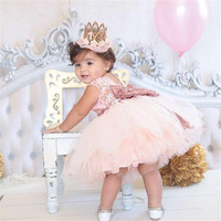 Wholesale Retail Summer Sparkle Bow V Back Lace Chiffon Dress Baby Girls Dress Kids Dress 2017