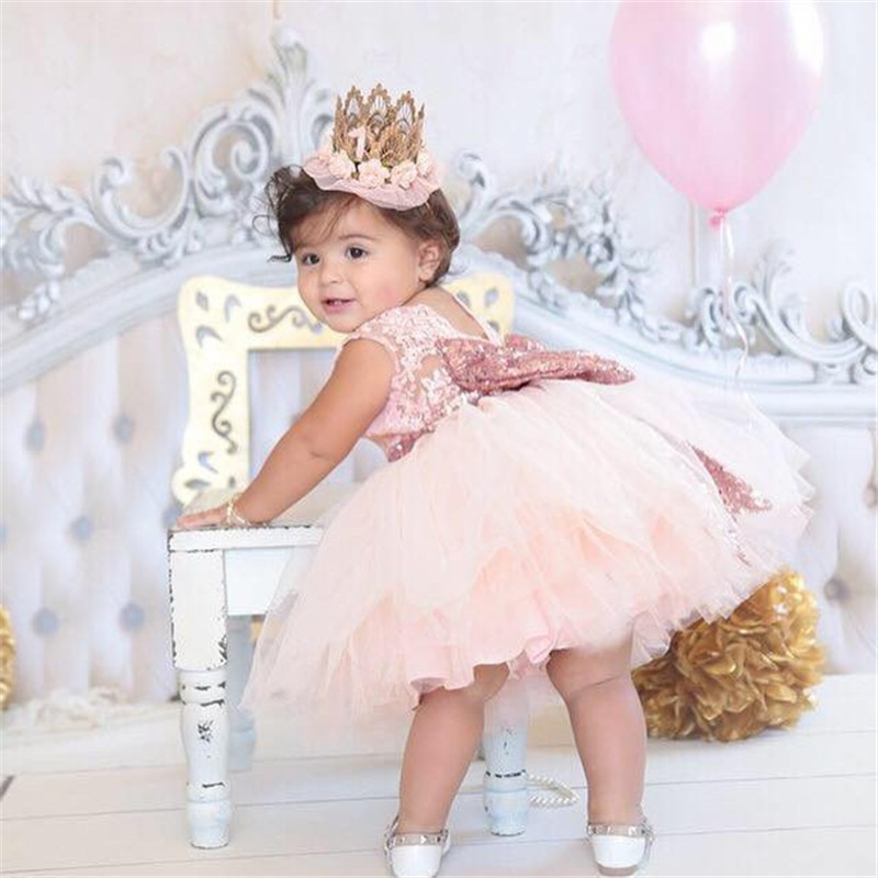 Wholesale Retail Summer Sparkle Bow V-back Lace Chiffon Dress Baby Girls Dress Kids Dress 2017 New Style Valentine Princess Wear