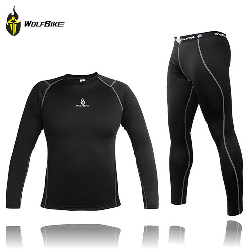 ФОТО WOLFBIKE Men Thermal Fleece Base Layer Compression Clothing Under Wear Cycling Bike Long Sleeve Jersey Winter Runing Tights