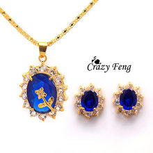 Gold-color Crystal Jewelry New Crazy Feng Flower Design Stud Earrings Necklace Set Rhinestone Jewelry Sets For Women Gift(China)