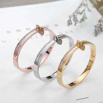 Hot Sale Women Charm Bracelets & Bangles Stainless Steel Crystal