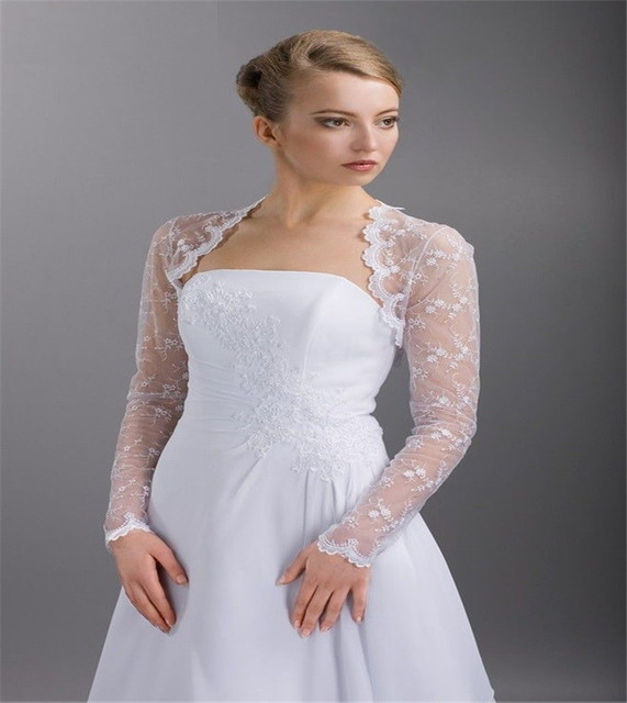 2015 White Wedding Jacket without belt Long Sleeve Lace Bridal Bolero For Brides Sexy Wedding Accessories Coats See Through