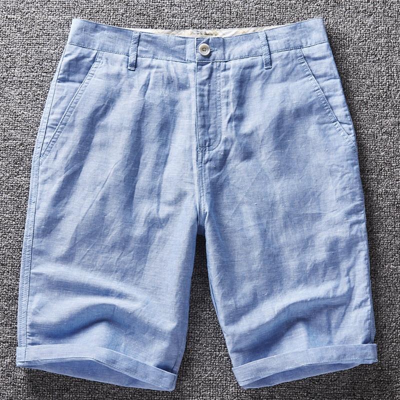 Italien Männer Shorts Leinen Badeanzug Strand Shorts Männer Marke - Herrenbekleidung