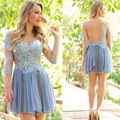 Sexy See Througth Short Cocktail Dresses Tulle Appliqued Lace Prom Party Gowns Three Quarter Mini Custom Made