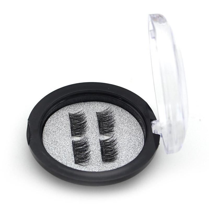 2 Pairs /4PCS 3D Magnetic Eyelash False Eyelash Make up Double Magnet Full Strip Magnetic Eyelashes Extension Fake Eye Lashes