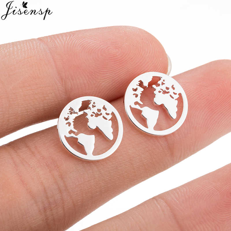 Jisensp Stainless Steel World Map Stud Earrings for Women Travel Gift Vintage Globetrotter Earth Handmade Jewelry oorbellen