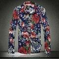 100% algodón 2017 Nuevos Hombres impreso de alta calidad moda casual largo camisas de manga/tamaño grande Marca delgadas Para Hombre camisas del ocio M-5XL