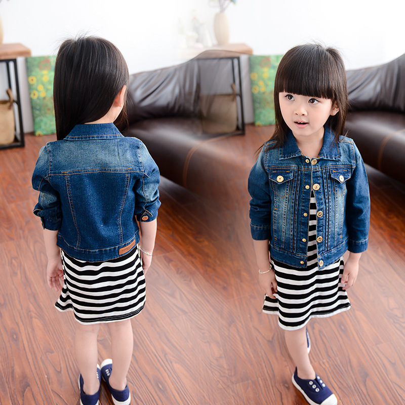 2015 Spring And Autumn Children Fashion Denim Jacket Girls Kids Blue