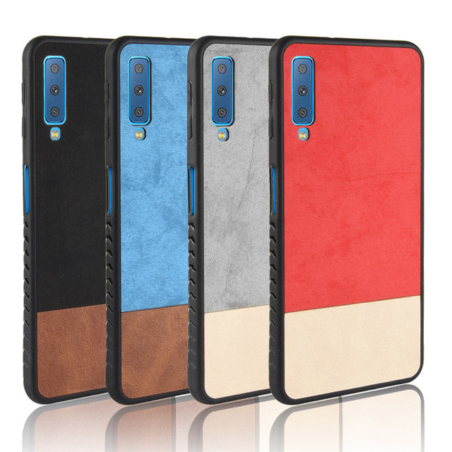 meet 35e9c 245b3 US $2.39 30% OFF|For Samsung Galaxy A7 2018 case Cloth Texture Skin  shockproof Hard Back Cover For Samsung A7 2018 A750 denim splice Tpu  Frame-in ...