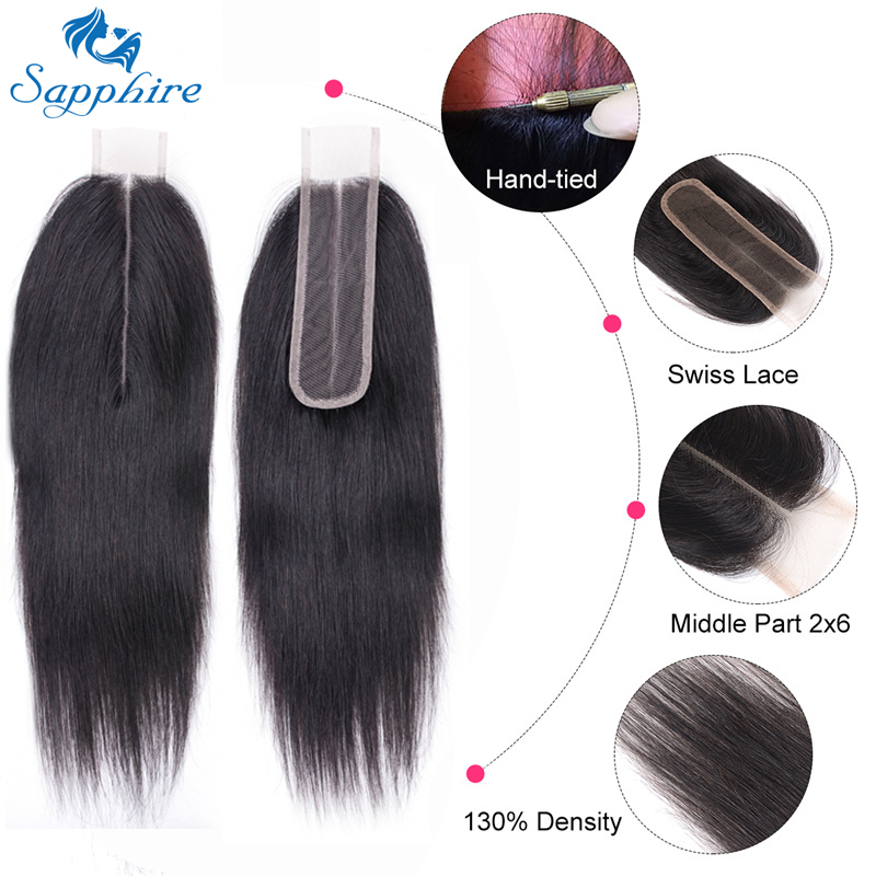 Sapphire Brazilian-Hair Hair-Closure Middle-Part Black Straight Natural-Color for Woman