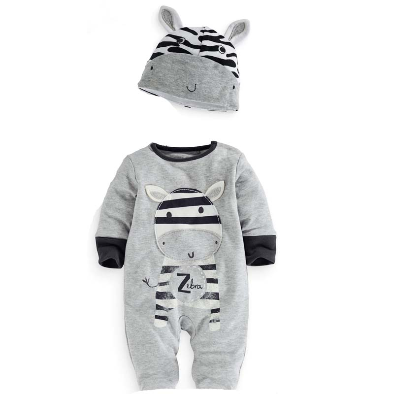 Baby Rompers New Autumn Style Casual Cartoon Zebra Baby Boy Girl Long Sleeve + Hat Sute 2pcs Baby Clothing Kids Jumpsuit the new children s cubs hat qiu dong with cartoon animals knitting wool cap and pile