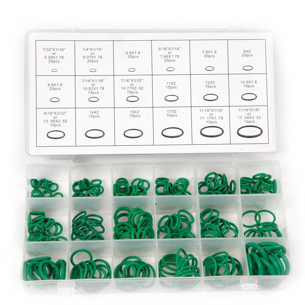 Горячая 270 шт. 18 Размеры S зеленый резиновое Кольца кондиционер hnbr Multi-Размеры уплотнительное кольцо с пластик коробка комплект для авто ремо...