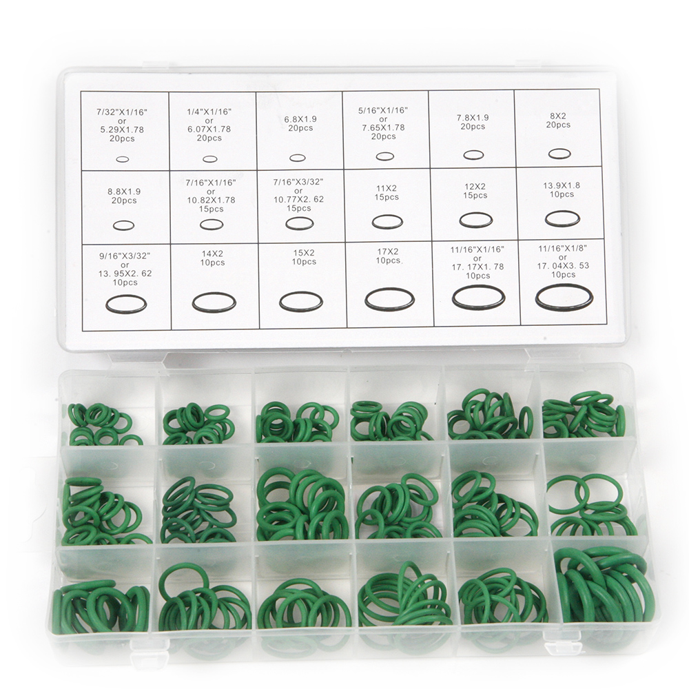 Hot 270Pcs 18 Sizes Green Rubber O Rings Air Conditioning HNBR Multi-size O Ring With Plactic Box Kit for Car Auto Repair Tools  high quality 270 pcs car styling rubber o ring seals watertightness assortment different size with plactic box kit